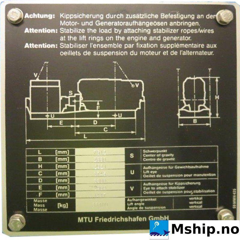 MTU 20V 4000 P63 Generator set 2500 kWe