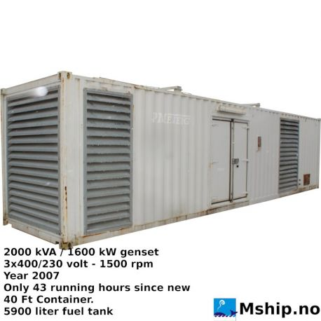 2000 kVA / 1600 kW 40 ft container genset https://mship.no