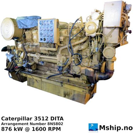 Caterpillar 3512 DITA, 876 kW @ 1600 RPM, https://mship.no