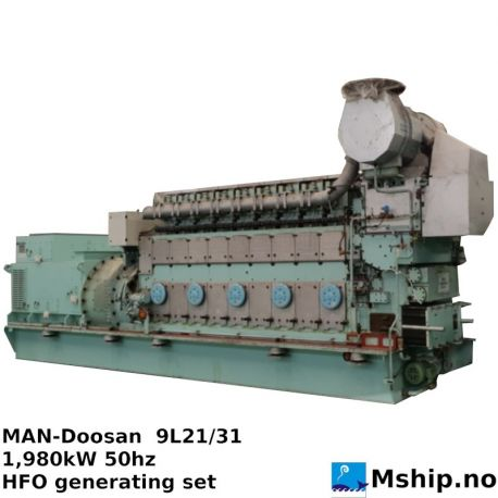 MAN-Doosan 9L21/31 1.980 kW HFO generating set https://mship.no