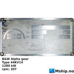B&W Alpha gear Type 44KV14 https://mship.no