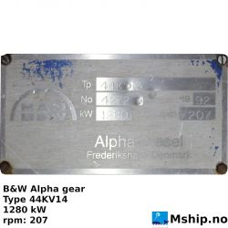 B&W Alpha gear Type 44KV14 https://mship.no