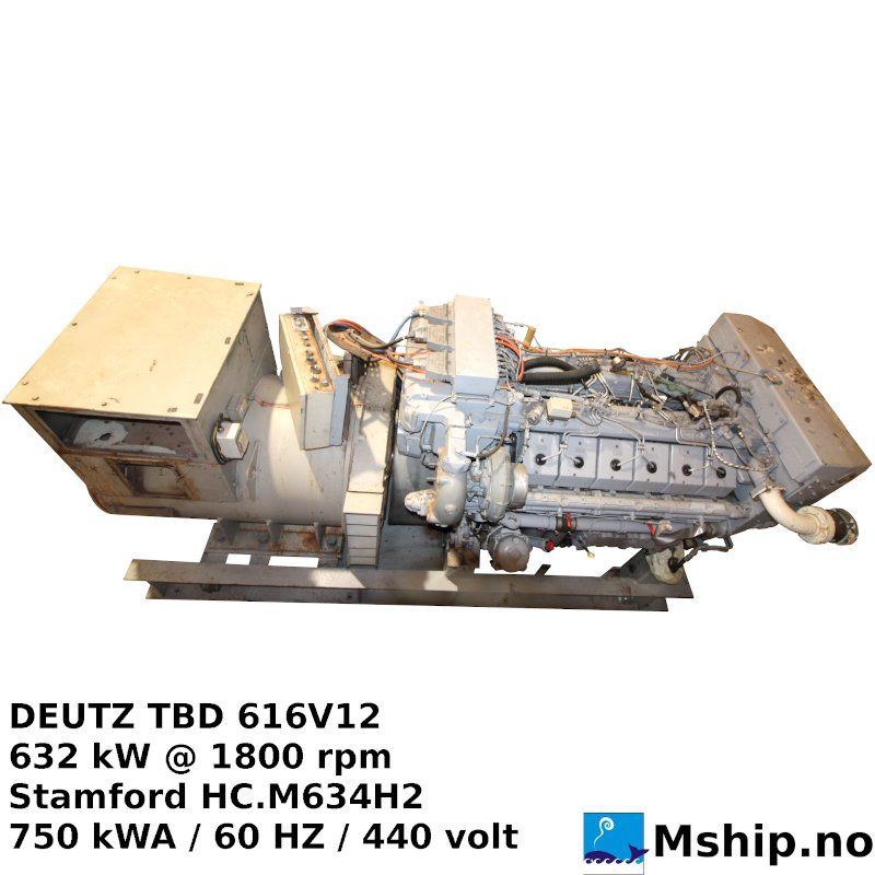 DEUTZ MWM TBD 616 V12 750 kVA generator set
