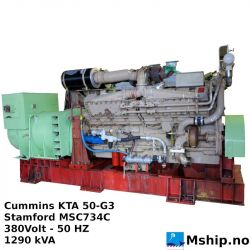 Cummins KTA 50-G3 generator set. 1290 kVA https://mship.no