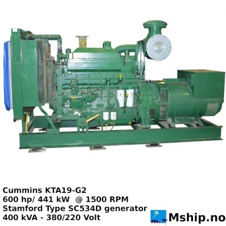 Cummins KTA19-G2 generator set 400 KVA https://mship.no