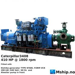 Caterpillar3408 with 200 kW genertor and Alweiler pump in front