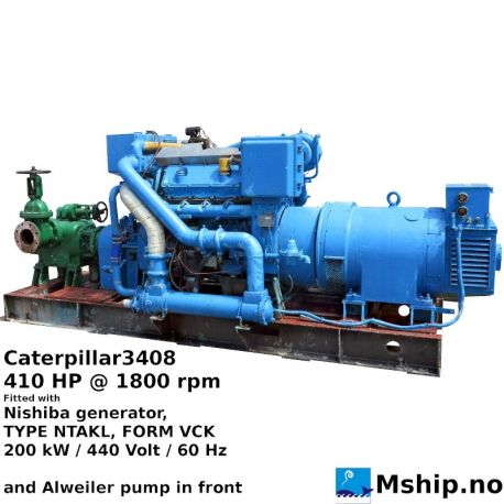 Caterpillar3408 with 200 kW generator and Alweiler pump in front.