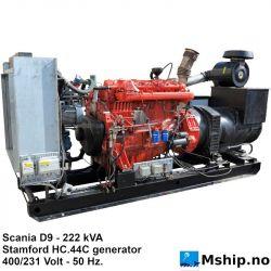Scania D9 95 - 222 kVA generator set https://mship.no