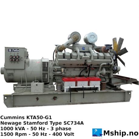 Cummins KTA50-G1 1000 kVA generator set https://mship.no