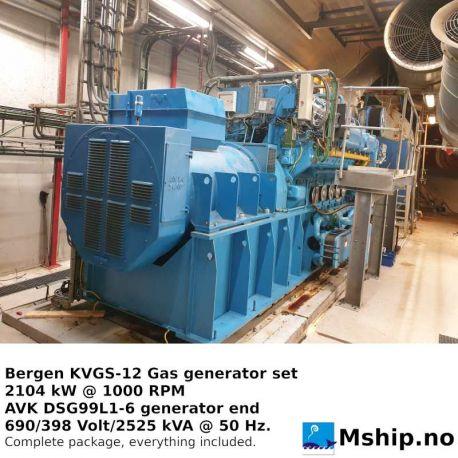Bergen KVGS12G Lean Burn Gas generatorset 2325 kVA https://mship.no