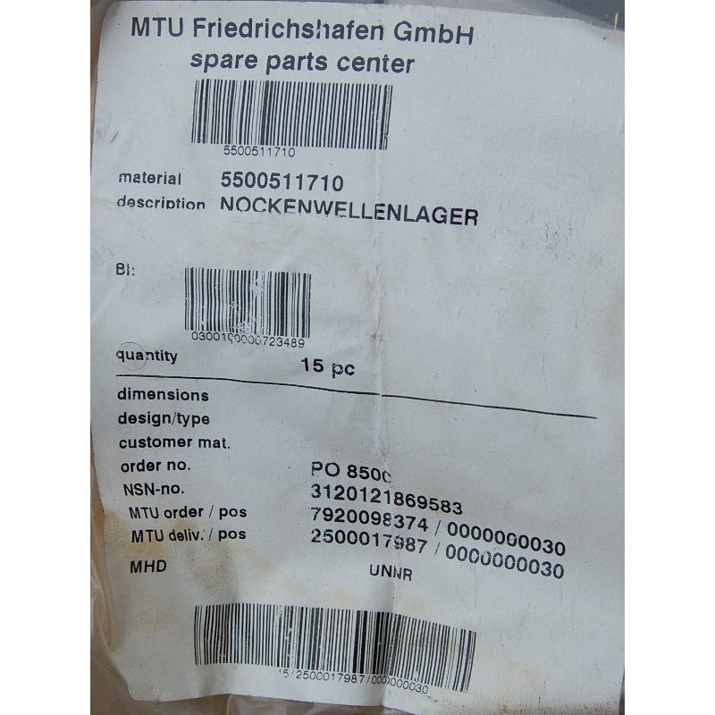 MTU 5500511710 CAMSHAFT BEARING NOCKENWELLENLAGER - Mship