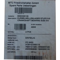 MTU 5550330130 CRANKSHAFT BEARING Standard size - EINTEILIG