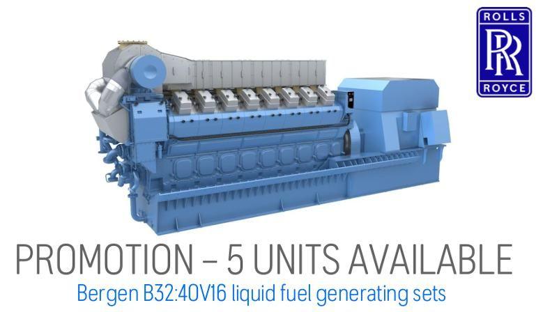 Bergen B32:40V16 liquid fuel generating sets PROMOTION – 5 UNITS AVAILABLE